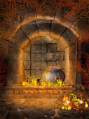 Fantasy fireplace with bats — Stock Photo