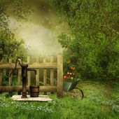 Garden with an old water pump — Stock Photo