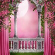 Pink garden with curtains — Stock Photo #12724272