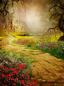 Yellow road to a castle — Stock Photo