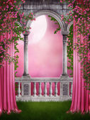Pink garden with curtains — Stock Photo