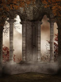 Ruínas do castelo com videiras — Foto Stock