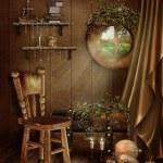 Fairytale room with a window — Stock Photo