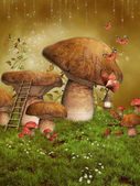 Fantasy fairy mushrooms — Stock Photo