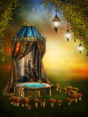 Fairy stage with lamps — Stock Photo