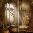 Castle room with Halloween decorations — Stock Photo