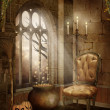 Castle room with Halloween decorations — Stock Photo #12751233