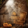 Attic room with Halloween decorations — Stock Photo