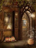 Ferienhaus innenraum mit halloween-dekoration — Stockfoto