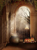 Halloween room with a cauldron — Stock Photo