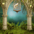 Enchanted garden with a cage - Stock Photo
