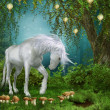 Fairytale meadow with a unicorn — Stock Photo