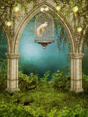 Enchanted garden with a cage — Stock Photo