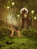 Enchanted meadow with a clock — Stockfoto