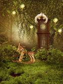 Zaczarowana łąka z zegarem — Zdjęcie stockowe