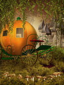 Fairytale carriage and castle — Stock Photo
