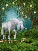 Fairytale meadow with a unicorn — Stock Photo