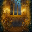 Window with candles - Stock Photo
