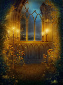Window with candles — Stock Photo