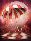 Fantasy scenery with umbrella — Stock Photo