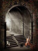 Gotiska gate med rosor — Stockfoto