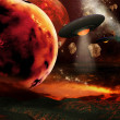 Fiery planets — Stock Photo