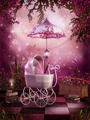 Pink garden with a pram — Stock Photo