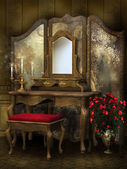 Victorian room with roses — Stock fotografie