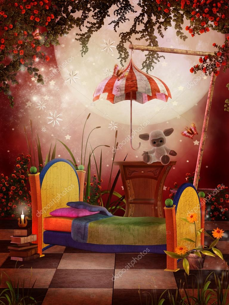 Red Fantasy Bedroom Stock Photo FairytaleDesign 12900095