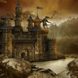 Fantasy landscape with a castle — Stock Photo