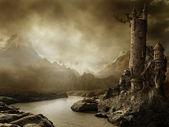 фантазийный пейзаж с башней — Стоковое фото