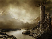 Fantasy landscape with a tower — Stok fotoğraf