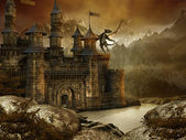 Fantasy landscape with a castle — Stok fotoğraf