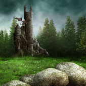 Fantasy meadow with a tower — Stock Photo