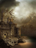 Fantasy castle with a dragon — Stock Photo