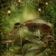 Enchanted forest with mushrooms — Stockfoto