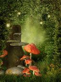 Gamla träd med svamp — Stockfoto