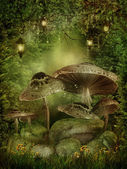 Enchanted forest met paddestoelen — Stockfoto