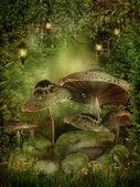 Foresta incantata con funghi — Foto Stock