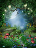 Enchanted forest with lanterns — Stock Photo