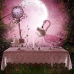 Fantasy garden with a flamingo — Stock Photo #13266475
