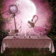 Stock Photo: Fantasy garden with flamingo