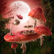 Fairy garden with red mushrooms — Stock Photo #13266547