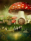 Fairytale mushroom house — Stock Photo