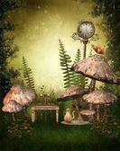 Green fairy garden — Stock Photo