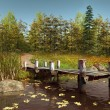 Wooden pier on a lake with leaves — Stock Photo