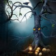 Stock Photo: Creepy tree with skulls