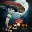 Evil mushroom with skulls — Stock Photo