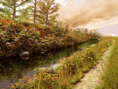 Autumnal river and path — Zdjęcie stockowe