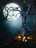 Creepy tree with skulls — Stock Photo